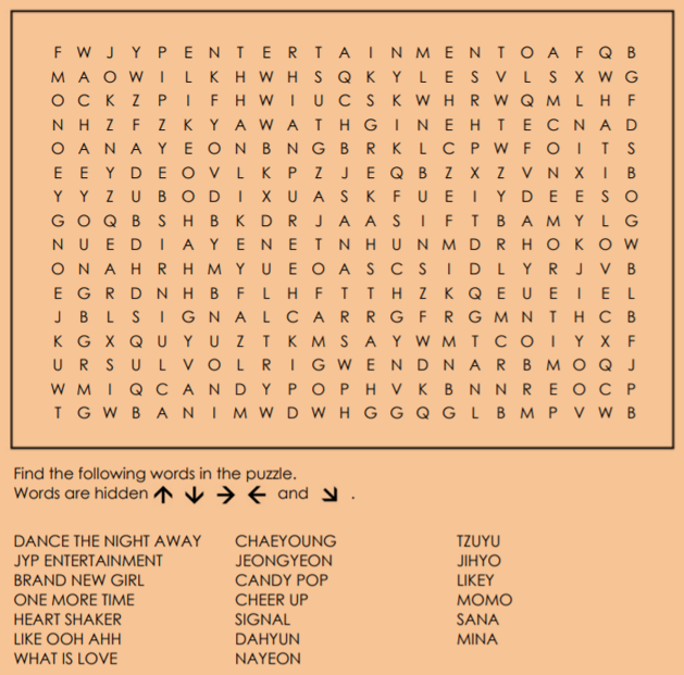 game] TWICE Word Search - Forums - MyAnimeList net