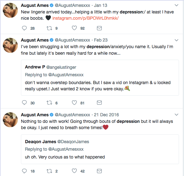 Why did august ames kill herself?