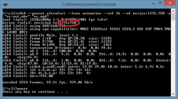 videolan x264 binary options