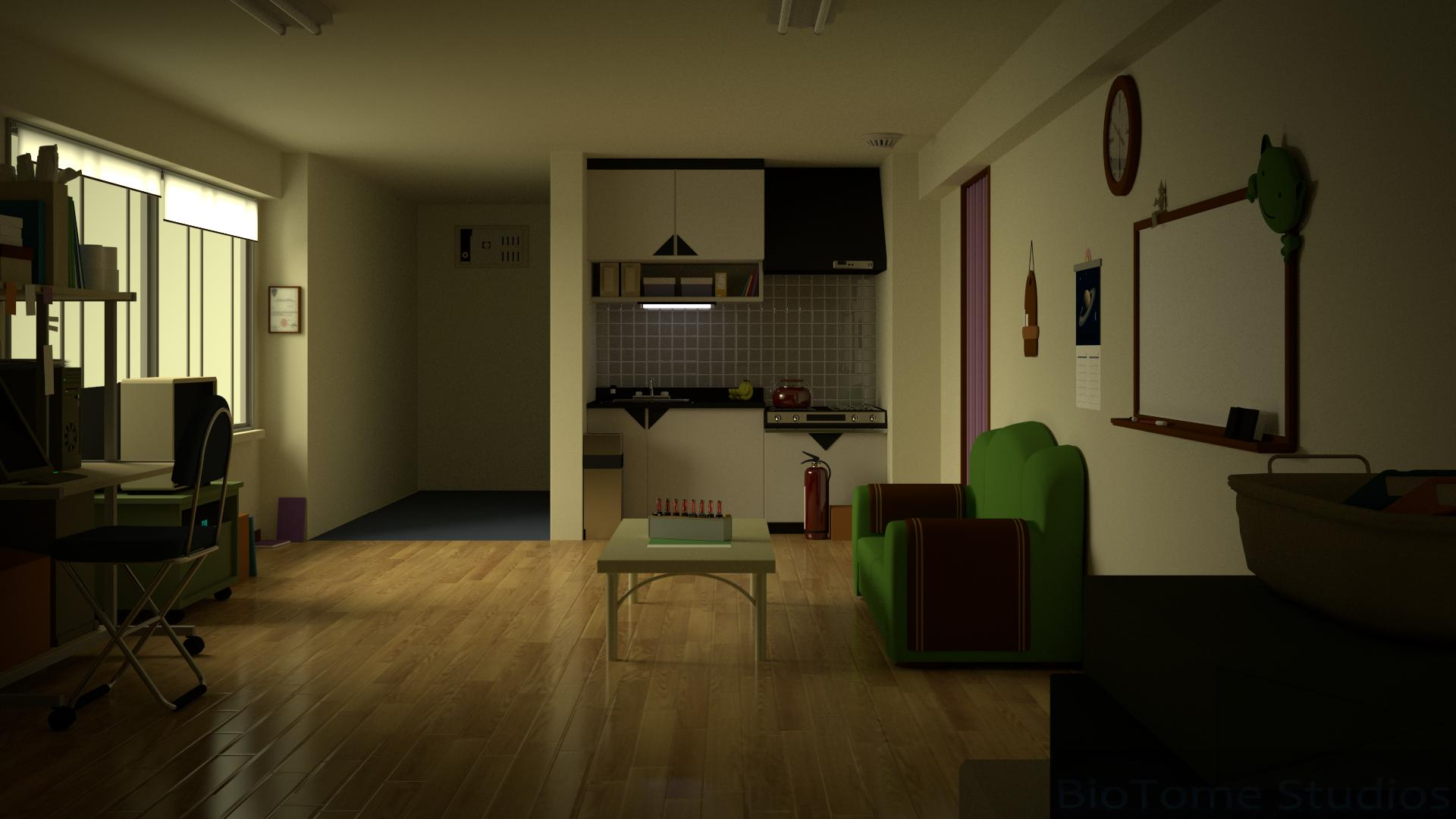 A Small Apartment With Only Kitchen Bedroom Bathroom And Living Room Three Of Them Being Close In The Middle