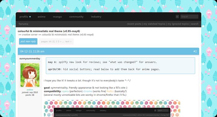 colourful mal theme - Forums - MyAnimeList net