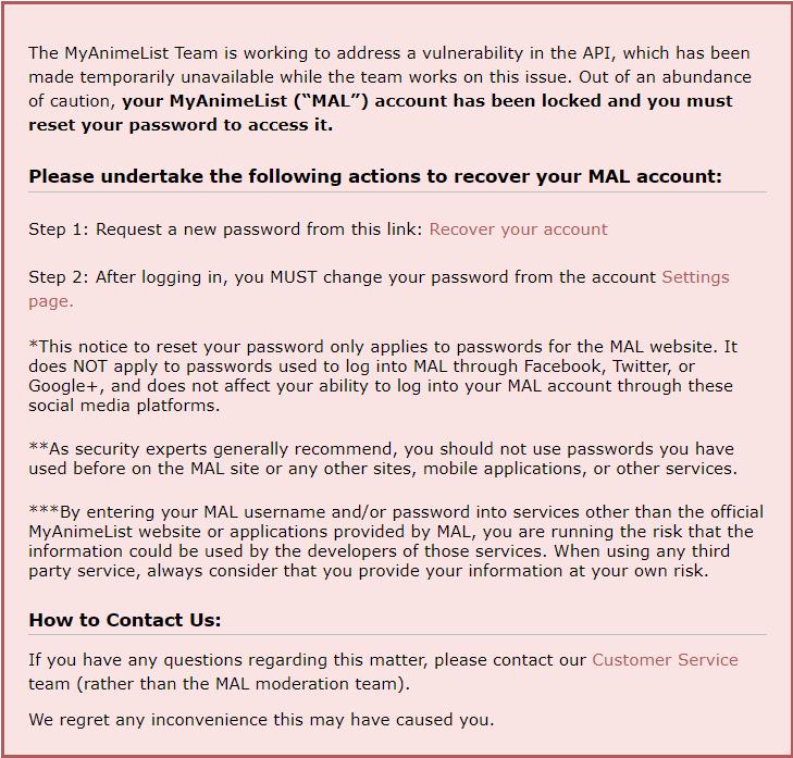 Guide] Recovering locked accounts - Forums - MyAnimeList net